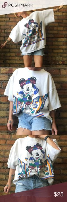 90's Hip Hop Mickey chopped n cropped top Vintage Mickey cropped and cut sweatshirt! It's a large, I'm an XS in the picture so I'm going to list it as a medium. There's a couple marks on the front I took close ups of, they're very hard to see. Vintage Tops