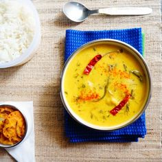 Indian Yogurt curry called 'Punjabi Kadhi pakoda': Aromatic Tangy curry made of yogurt and gram flour with steamed rice.