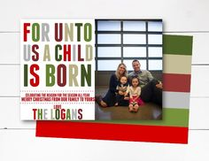 For Unto Us A Child Is Born Christmas Card, Christmas Photo Card, Holiday Photo Card, Scripture Christmas Card, DIY or Printed by NOLALOULOU on Etsy