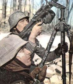 MG 34 on tri-pod Mg34, German Uniforms, Ww2 Photos, German Army, Luftwaffe, Military Art, War Machine, Colorful Pictures, World War Ii