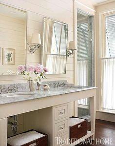 White bathroom with shiplap walls