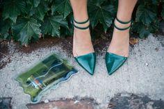 Christopher Kane clutch + Alexander Wang heels