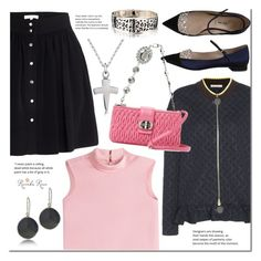 """""""Pleated skirt and silver jewelry"""" by revekarose ❤ liked on Polyvore featuring Marni, IRO, Miu Miu, RED Valentino, Silver, jewelry and revekarose"""