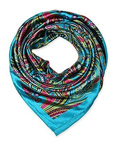 corciova Women's Large Satin Square Silk Feeling Hair Scarf 35 x 35 inches Ball Blue $9.99 Free Shipping
