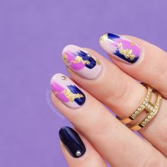 Gold nail foil + studded nails