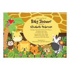 Cute Safari Jungle Animals Baby Shower Invitations! Make your own invites more personal to celebrate the arrival of a new baby. Just add your photos and words to this great design.