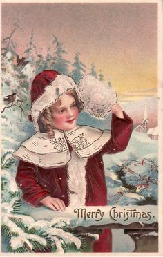 Xmas in July Antique Embossed CHRISTMAS Postcard~PRETTY GIRL w/ Muff~Germany #Christmas