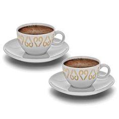 2 tasses et 2 soucoupes en porcelaine avec des motifs cuivrés. Complètent parfaitement la machine à café turc OKKA | #turkishcoffee #cafeturc #coffeelovers #OKKA