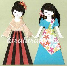 FILIPINO GIRL in Balintawak and Maria Clara dress Paper Doll Card Topper (Set of 2)