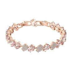 A fabulously crafted ladies bracelet which consists of various sparkling Swarovski crystals set around a rose gold plated pear shaped link design. Size: one size. Bb Shop, Rose Gold Plates, Types Of Metal, Dillards, Swarovski Crystals, Take That, Diamond, Bracelets, Pink