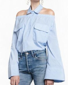 2aa1e8bafff Chic blue striped off the shoulder shirt trumpet sleeve style for women Off  Shoulder Shirt