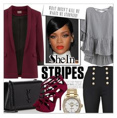 """""""shein"""" by konstadinagee ❤ liked on Polyvore featuring Balmain, Yves Saint Laurent, Rolex and Giuseppe Zanotti"""