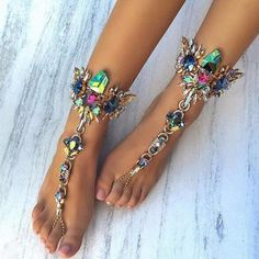 Gorgeous Exotic Style Rhinestone Anklet #Anklets