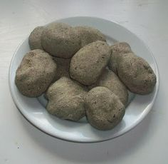 Homemade ROCKS: 1/2c coffee grounds, 1/2c sand, 1/2c salt, 1c flour, 1c water. Bake for about 15min let dry overnight.