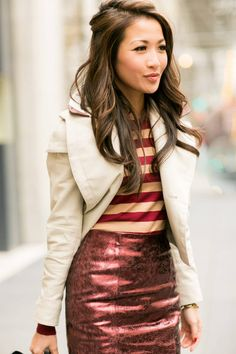 Fall Ready :: Metallic Skirt & Cropped Trench