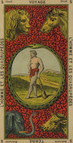 Man and Quadrupeds (The World) - Etteilla Tarot: Book of Thoth
