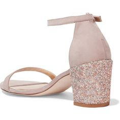 Stuart Weitzman Simple glittered nubuck sandals (940 PLN) ❤ liked on Polyvore featuring shoes, sandals, buckle shoes, stuart weitzman shoes, mid heel shoes, mid-heel shoes and block heel shoes
