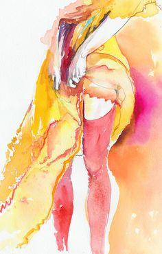 Fashion Illustration Watercolour Print Titled by silverridgestudio, $100.00. Original for sale