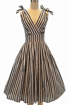 bowie bombshell surplice sun dress - black & white stripe | le bomb shop
