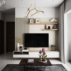 Modern Tv Unit Designs, Modern Tv Wall Units, Living Room Tv Unit, Cozy Living Rooms, Apartment Living, Small Living Room Design, Living Room Designs, Tiny Living, Interior Design Minimalist