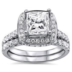 18k White Gold 2ct TDW Princess-cut Diamond Clarity-enhanced Bridal Set (G-H, SI1-SI2) | Overstock.com Shopping - The Best Deals on Bridal Sets