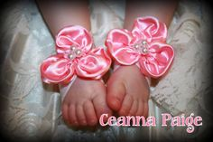 bubblegum Pink Baby Barefoot Sandals OTHER COLORS by CeannaPaige, $9.00