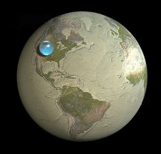 If you put all Earth's water In one place, it'd look like this  (bubble is 860 miles high.)