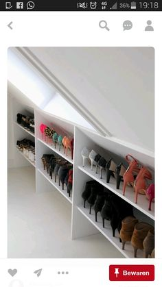 Beyond words Attic storage flooring thickness,Attic bathroom mirror and Attic bedroom storage ideas. Attic House, Attic Closet, Attic Office, Attic Playroom, Shoe Closet, Attic Wardrobe, Garage Attic, Shoe Storage In Wardrobe, Shoe Storage Room