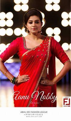 Palakka Saree AanDe by Aanu Nobby South Indian Sarees, Indian Bridal Lehenga, Indian Beauty Saree, Indian Dresses, Indian Outfits, Indian Clothes, Simple Sarees, Red Saree, Elegant Saree
