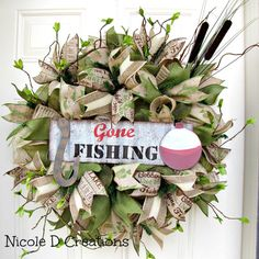 XL Premium Deco Mesh Wreath Gone Fishing Cat by NicoleDCreations