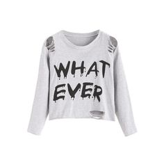 Light Grey Letter Print Distressed Crop T-shirt ($6.99) ❤ liked on Polyvore featuring tops and t-shirts