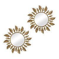 16 H x 16 W Leaf Framed Mirror (Set of 2), Wall, Mirror Sets, Sunburst, Traditional, Metal, Gold