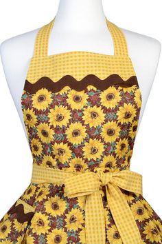 Womens Ruffled Retro Apron Bright Yellow Sunflowers Fall