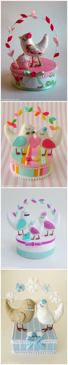 "Custom made felt/cotton ""Love Birds"" cake toppers  by Ana Jordao - Pinga Amor"