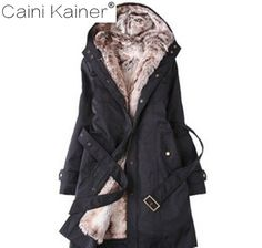 (37.39$)  Watch here  - High Quality Hot Sale Fur Lining Thicken Hooded Belt Embellished Coat Women's Winter Warm Long Fur Coat Jacket Clothes