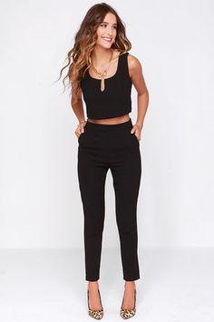 Two-Piece Set - Black Outfit - Pants Set - $76.00