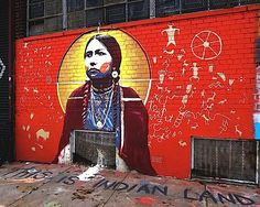 LMNOPI at Welling Court in Astoria, Queens, USA  Moving Robes Woman, an Hunkpapa Lakota warrior who is reported to have been the person who finally killed Custer in the Battle of the Little Big Horn.
