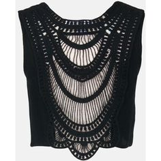 Sans Souci Black crochet lace trim back crop tank ($25) ❤ liked on Polyvore featuring tops, black, lace trim top, crop tank tops, cut-out crop tops, crochet sleeveless top and macrame top