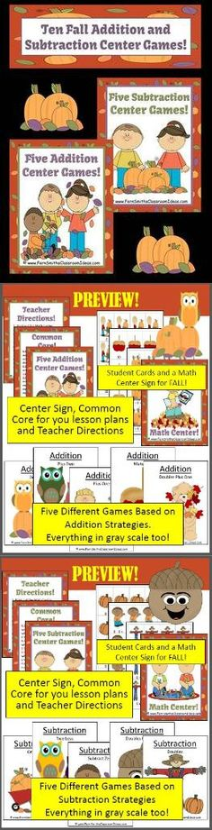 TEN Addition and Subtraction Math Centers for Fall and Autumn. - IF YOUR SCHOOL DOES NOT ALLOW HALLOWEEN, THIS IS A TERRIFIC LITTLE CENTER TO STILL HAVE SOME FALL-TIME FUN! 100 Pages Total! Ten Strategies in All! #TPT #Fernsmithsclassroomideas $paid