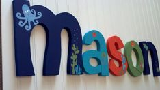 Custom hand painted nursery letters, nursery letters, baby boy nursery letters, Bubbles & Squirt bedding, under the sea nursery wall letters Sea Nursery, Nursery Wall Decor, Nursery Themes, Baby Decor, Themed Nursery, Nursery Ideas, Baby Boy Rooms, Baby Boy Nurseries, Baby Room