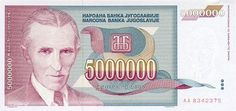 5 million banknote of Yugoslavia. The notes from the period of inflation have value! During the period since 1990. so until 1992. the series of bills appear. In 1992. were issued banknotes of 100, 500, 1000, 5000, 10000 and 50000 dinar. Due to hyperinflation caused by economic crisis in 1993. the notes come in denominations of 100,000, 500,000, 1 million, 5 million, 10 million, 50 million, 100 million, 500 million, 1 billion and 10 billion. Price: $2.99.