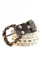 Handmade lace overlay on black leather strap with braided buckle.