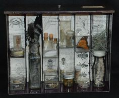 Apothecary Mixed Media Shadowbox Assemblage #steampunk #assemblage