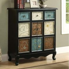 Monarch Specialties I 3893 Distressed Black / Multi-Color Apothecary
