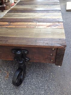 Factory railroad cart.  Top restored with reclaimed planking wood for a beautiful color variation. $375 Loft Furniture, Planking, Hippie Life, Repurposed, Cart, Restoration, House Ideas, London, Wood