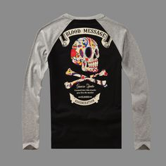 Hot Sale Mens T Shirts Fashion 2015 Fall Blood Message T shirt Men Back Skull long-sleeve T-shirt men skate tshirt skateboard