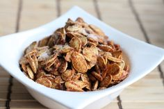 Cinnamon and Sugar Roasted Pumpkin Seeds - Cant wait to try these! Will substitute splenda for sugar.