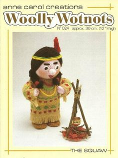 indian bed doll PDF Woolly Wotnots Knitting Pattern The Squaw by Anne Carol Creations. 024 high figure) PDF Woolly Wotnots Knitting Pattern The Squaw by Anne Carol Creations. Knitted Doll Patterns, Knitted Dolls, Knitting Patterns, Crochet Patterns, Handmade Items, Handmade Gifts, Vintage Knitting, Stuffed Toys Patterns, Pattern Paper