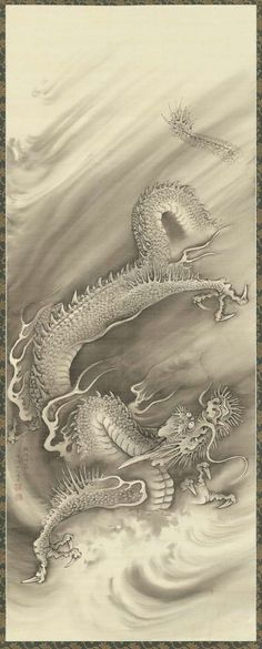 NAKABAYASHI Chikutō(中林 竹洞 Japanese, 1776-1853) Dragons 2 雲龍図 Hanging scroll; ink on silk