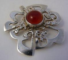 1979 Ola Gorie Sterling Silver Cornelian Stone Brooch Pin Boxed Hallmarked OMG   eBay